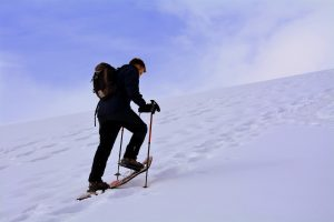 Nordic skier is shown climbing a snowy mountain.
