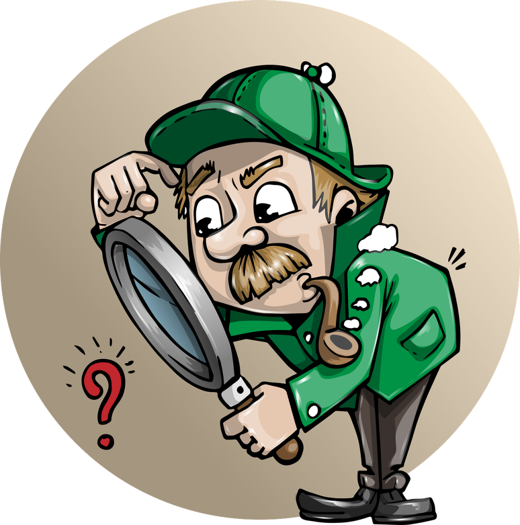 A detective peers through a magnifying glass at a question mark, as if to solve a puzzle.