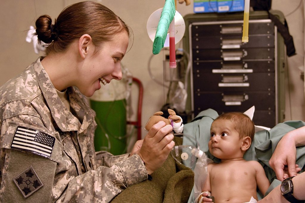 Infant in military hospital.
