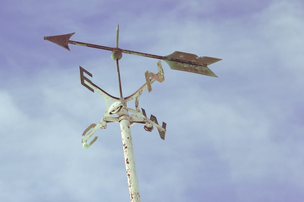 Weathervane showing four cardinal directions