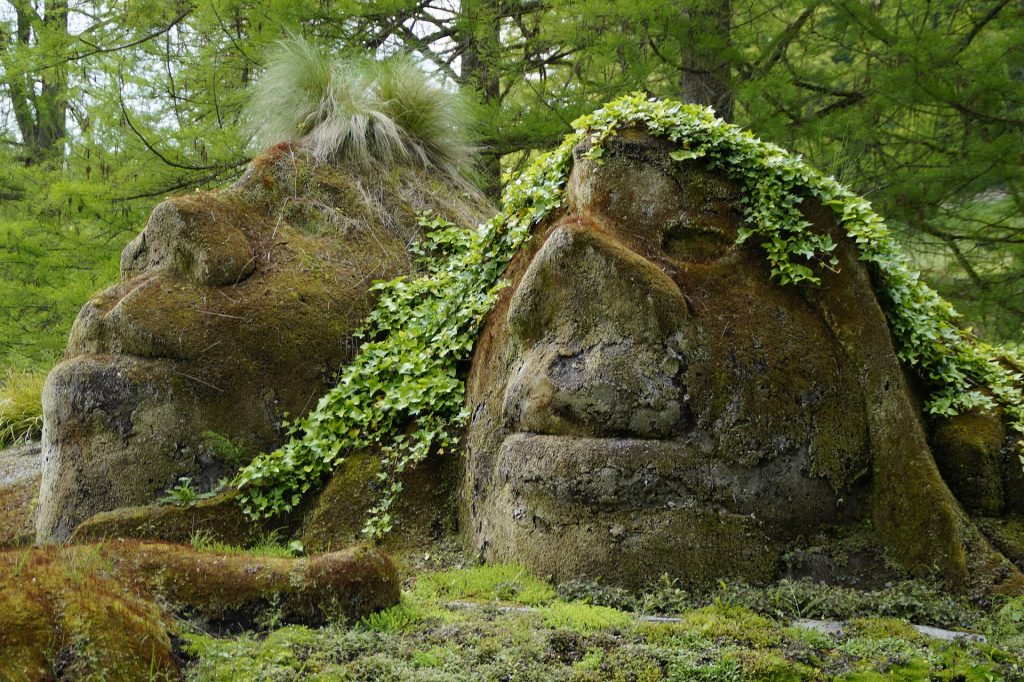 Stone faces appear in the forest floor.