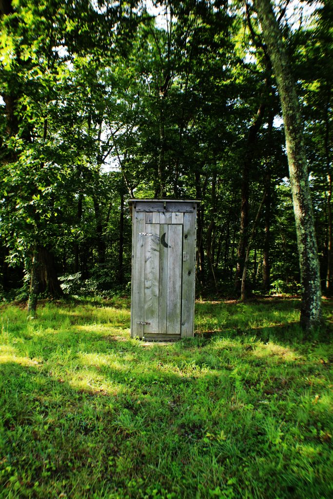 An outhouse is shown against a backdrop of a leafy glade.