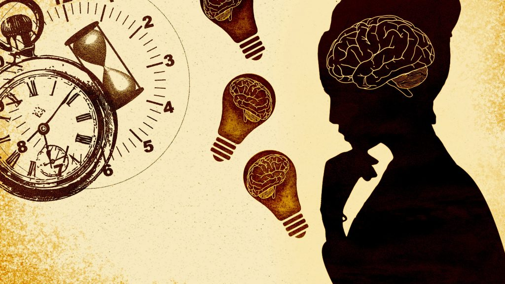 A woman in profile is shown contemplating time and thought, symbolized by a watch and brains inside light bulbs.
